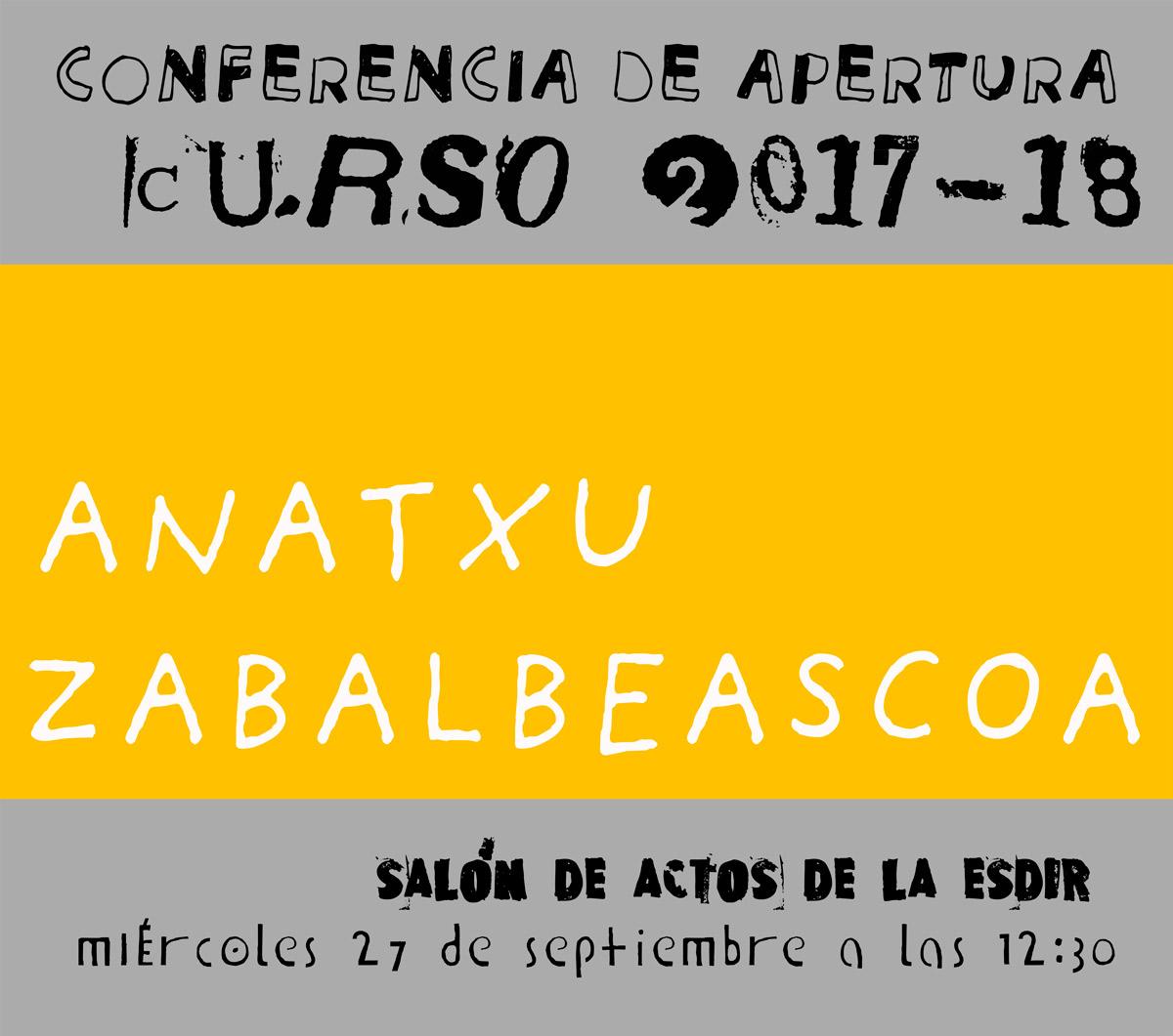Conferencia inaugural con Anatxu Zabalbeascoa