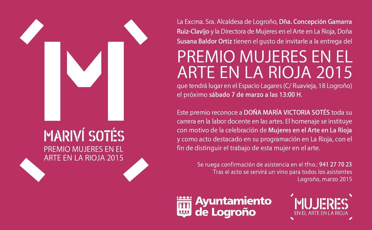 Mariví Sotés, Premio Mujeres en el Arte en La Rioja 2015