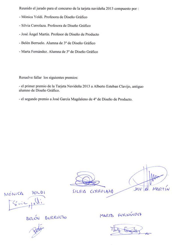 Premiados del concurso Tarjeta navideña 2013