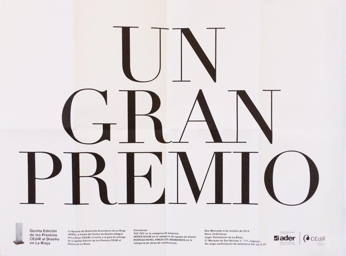 Javier Dulín premiado en la 5ª edición de los Premios Cedir al Diseño en La Rioja
