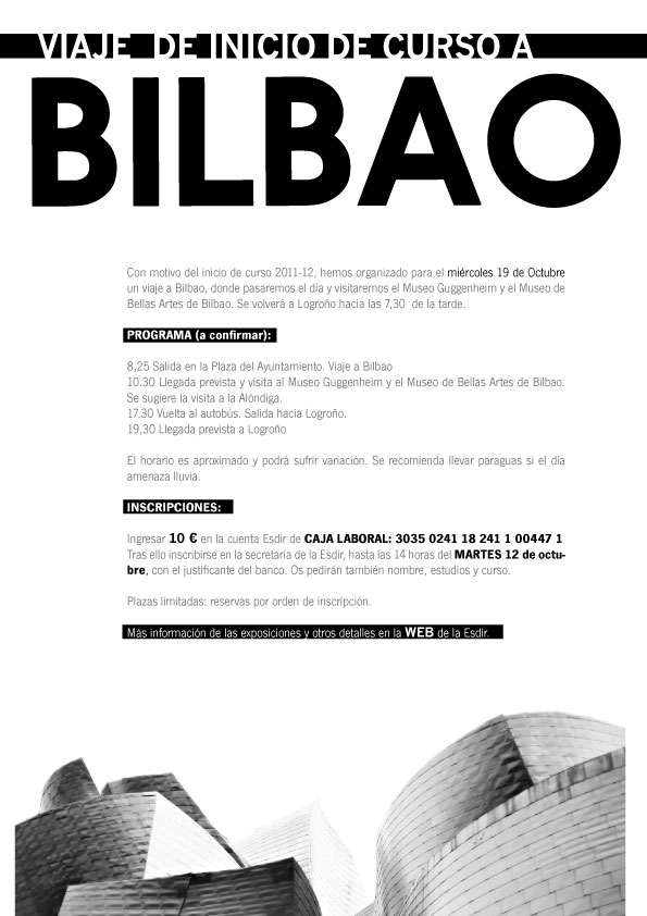VIAJE DE INICIO DE CURSO A BILBAO